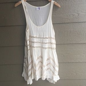 Free People cream lace swingy tunic dress top